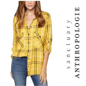 Anthropologie Sanctuary yellow plaid shirt L